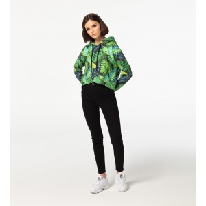 Tropical CROPPED mikina bez kapsy